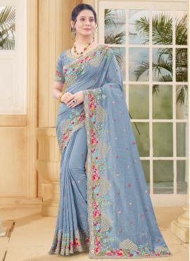 Embroidered Vichitra Silk Traditional Designer Saree in Grey