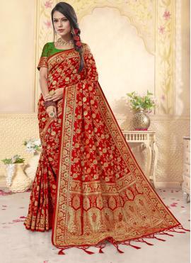 Enchanting Banarasi Silk Red Contemporary Saree