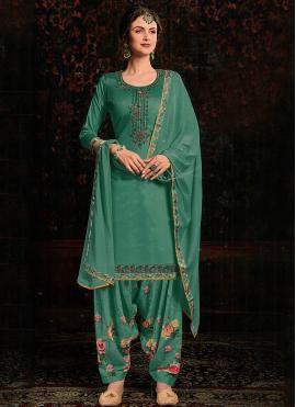 Enchanting Cotton Satin Green Zari Salwar Kameez