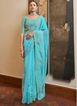 Enchanting Organza Blue Resham Designer Traditional Saree