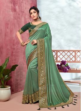 Enchanting Patch Border Fancy Fabric Trendy Saree