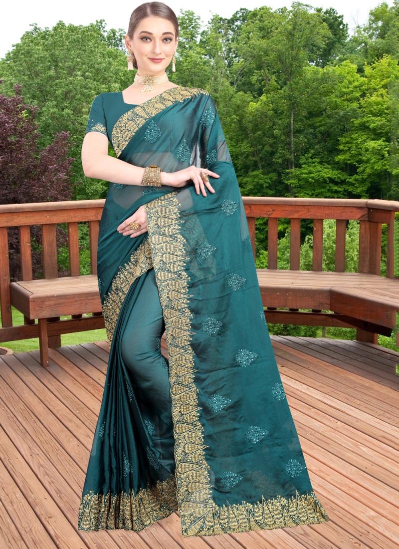 Enchanting Resham Green Faux Chiffon Bollywood Saree