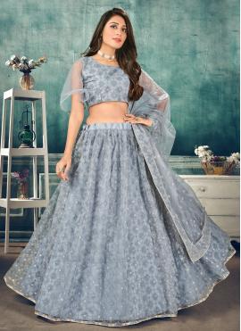 Enchanting Thread Net Blue Lehenga Choli