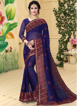 Energetic Georgette Navy Blue Embroidered Classic Saree