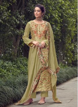 Energetic Green Fancy Designer Pakistani Suit
