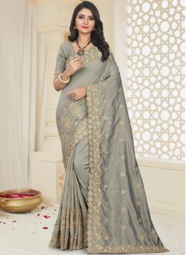 Energetic Grey Embroidered Designer Traditional Saree
