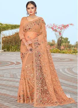 Energetic Peach Resham Net Designer Saree