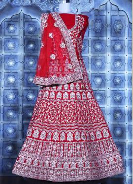 Energetic Velvet Embroidered Red Lehenga Choli