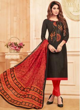 Engrossing Cotton Embroidered Black Salwar Kameez