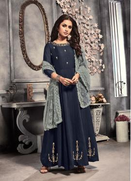 Engrossing Navy Blue Party Trendy Anarkali Salwar Kameez