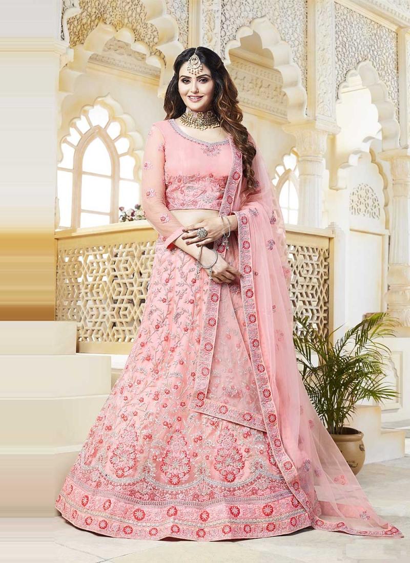 Engrossing Resham Pink Lehenga Choli