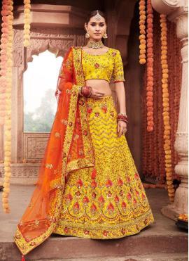 Engrossing Resham Yellow Designer Lehenga Choli
