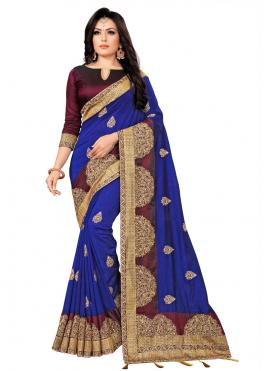 Enthralling Embroidered Party Silk Saree