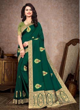 Enthralling Silk Sea Green Classic Saree
