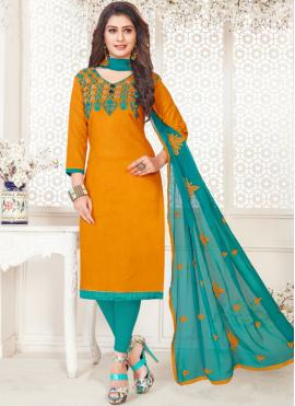 Enticing Cotton   Embroidered Orange Churidar Suit