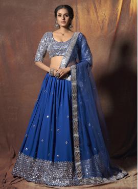 Enticing Faux Georgette Mirror Blue Lehenga Choli