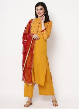 Enticing Mustard Foil Print Cotton Trendy Salwar Kameez
