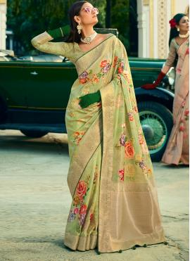 Entrancing Green Classic Designer Saree