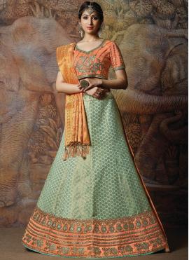 Entrancing Green Embroidered Silk Designer Lehenga Choli