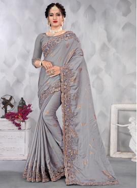 Entrancing Satin Grey Designer Saree