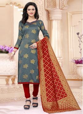 Epitome Banarasi Silk Weaving Grey Churidar Salwar Suit