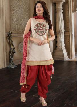 Epitome Chanderi Maroon Embroidered Designer Patiala Suit
