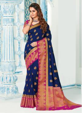 Especial Blue Reception Contemporary Saree