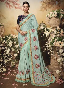 Especial Blue Satin Contemporary Saree