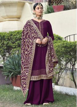 Especial Faux Georgette Embroidered Purple Designer Palazzo Suit