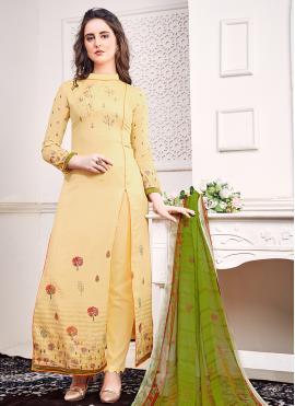 Especial Satin Embroidered Cream Bollywood Salwar Kameez
