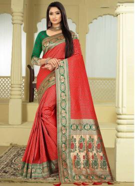 Especial Weaving Red Banarasi Silk Classic Designer Saree