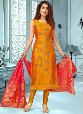 Ethnic Art Silk Mehndi Designer Salwar Suit