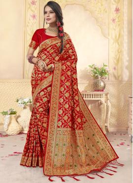 Ethnic Banarasi Silk Weaving Red Trendy Saree