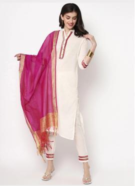 Ethnic Cotton Plain Off White Pant Style Suit