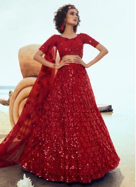 Ethnic Sequins Red Designer Lehenga Choli