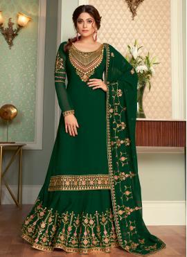 Ethnic Shamita Shetty Green Faux Georgette Long Choli Lehenga