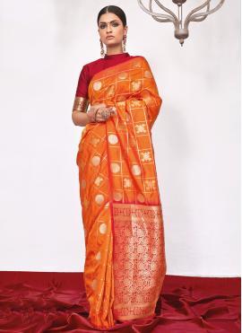 Ethnic Silk Orange Weaving Designer Saree