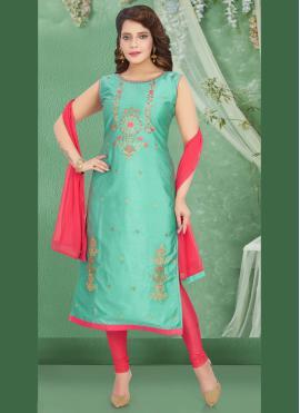 Excellent Embroidered Art Silk Churidar Salwar Suit