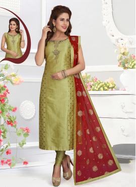Excellent Green Embroidered Churidar Salwar Kameez
