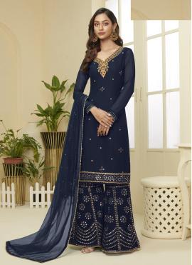 Excellent Navy Blue Embroidered Designer Palazzo Salwar Suit