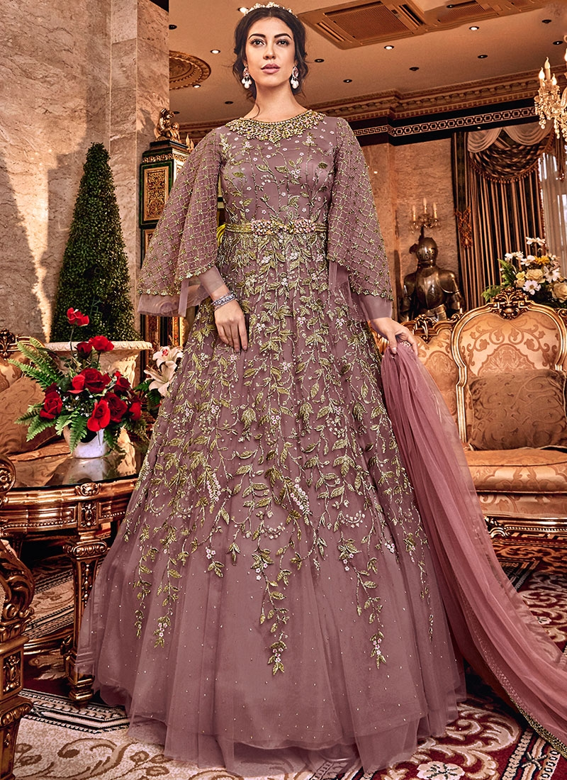 Excellent Net Embroidered Beige Trendy Anarkali Salwar Kameez