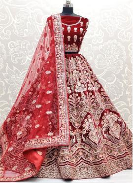 Excellent Red Mehndi Lehenga Choli