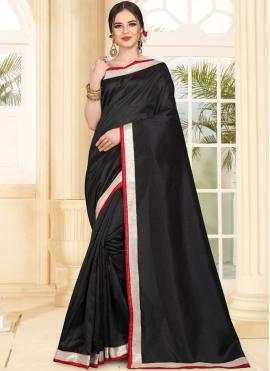 Exceptional Black Art Silk Traditional Saree