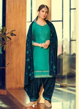 Exceptional Cotton Silk Sea Green Print Patiala Suit