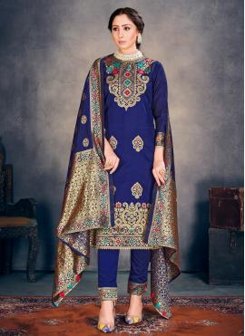 Exciting Blue Weaving Pant Style Suit