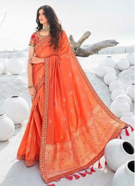 Exciting Border Silk Orange Classic Designer Saree