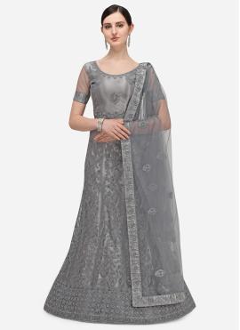 Exotic Embroidered Net Grey A Line Lehenga Choli