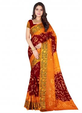 Exotic Orange and Red Patch Border Art Silk Designer Traditional Saree
