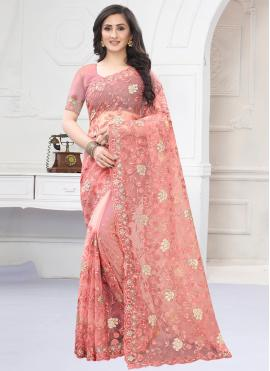 Exotic Pink Net Designer Saree