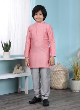 Exotic Plain Cotton Silk Pink Kurta Pyjama